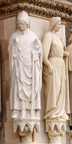 Dronningen av Saba og Rigobert, fra vestfasaden på katedralen Notre-Dame i Reims